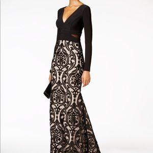 Elegant black & nude formal gown